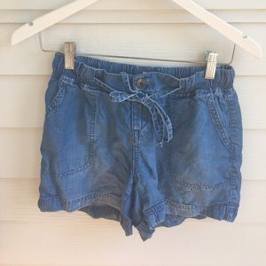 Soft Denim Tie Shorts